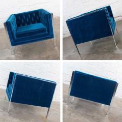 Milo Baughman Mcm royal blue velvet chrome cube loveseat chair after milo baughman - 1843787