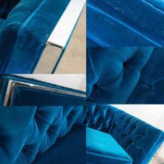Milo Baughman Mcm royal blue velvet chrome cube loveseat chair after milo baughman - 1843788