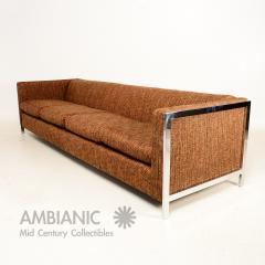 Milo Baughman MidCentury Modern Long Sofa with Chrome Legs