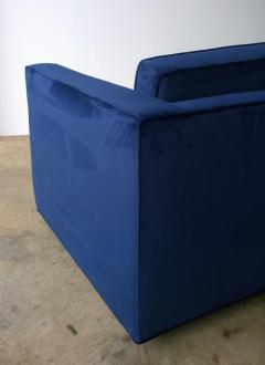 Milo Baughman Mid Century Modern Milo Baughman Style Tuxedo Sofa in New Blue Cotton Velvet - 894874