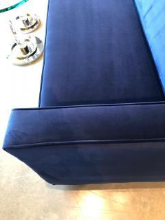 Milo Baughman Mid Century Modern Milo Baughman Style Tuxedo Sofa in New Blue Cotton Velvet - 894886