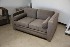 Milo Baughman Mid Century Modern Milo Baughman Style with New Mohair Wool Tuxedo Love Seat - 961995