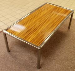 milo baughman - mid century modern zebra wood tubular chrome
