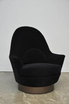 Milo Baughman Milo Baughman Bronze Base Swivel Chair With Ottoman   526461