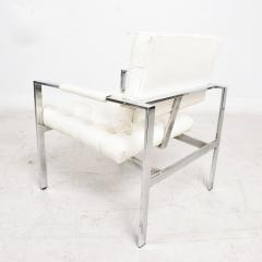 Milo Baughman Milo Baughman Faux Leather Chrome Tufted Lounge Chair Thayer Coggin 1960s - 1681827
