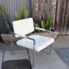 Milo Baughman Milo Baughman Faux Leather Chrome Tufted Lounge Chair Thayer Coggin 1960s - 1681835