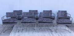 Milo Baughman Milo Baughman For Thayer Coggin Barrel Chrome And Velvet Dining Chairs Set Of 8 - 1957545