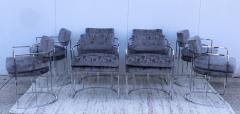 Milo Baughman Milo Baughman For Thayer Coggin Barrel Chrome And Velvet Dining Chairs Set Of 8 - 1957546