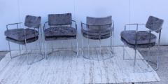 Milo Baughman Milo Baughman For Thayer Coggin Barrel Chrome And Velvet Dining Chairs Set Of 8 - 1957547