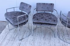 Milo Baughman Milo Baughman For Thayer Coggin Barrel Chrome And Velvet Dining Chairs Set Of 8 - 1957549
