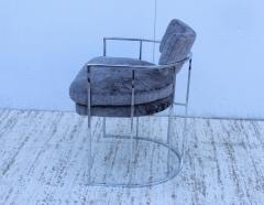 Milo Baughman Milo Baughman For Thayer Coggin Barrel Chrome And Velvet Dining Chairs Set Of 8 - 1957550