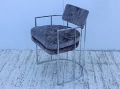 Milo Baughman Milo Baughman For Thayer Coggin Barrel Chrome And Velvet Dining Chairs Set Of 8 - 1957551