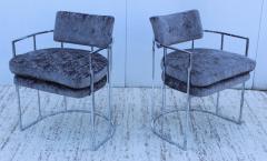 Milo Baughman Milo Baughman For Thayer Coggin Barrel Chrome And Velvet Dining Chairs Set Of 8 - 1957553