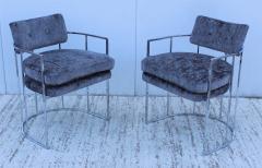 Milo Baughman Milo Baughman For Thayer Coggin Barrel Chrome And Velvet Dining Chairs Set Of 8 - 1957554