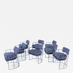 Milo Baughman Milo Baughman For Thayer Coggin Barrel Chrome And Velvet Dining Chairs Set Of 8 - 1960184