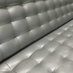 Milo Baughman Milo Baughman Long Slipper Sofa in Tufted Silver Satin Vinyl 1970s - 1089722