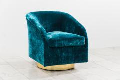 Milo Baughman Milo Baughman Pair of Teal Velvet Swivel Chairs USA - 2019576