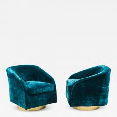 Milo Baughman Milo Baughman Pair of Teal Velvet Swivel Chairs USA - 2022448