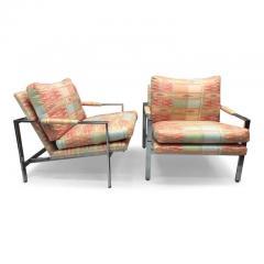 Milo Baughman Milo Baughman For Thayer Coggin Chrome Flat Bar Lounge Chairs    553939