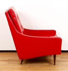 Milo Baughman Milo Baughman for Thayer Coggin Red Vinyl Lounge Chair - 1951555