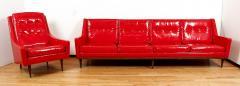 Milo Baughman Milo Baughman for Thayer Coggin Red Vinyl Sofa - 1951544