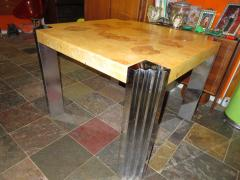 Milo Baughman Milo Baughman style Excellent Burled Olivewood Chrome Leg Game Dining Table - 1031079