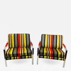 Milo Baughman PAIR OF MILO BAUGHMAN CHAIRS IN HIGH END STRPIED FABRIC - 1440761