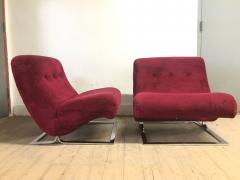Milo Baughman Pair Chrome Lounge Chairs style of Milo Baughman - 1040447
