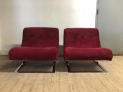 Milo Baughman Pair Chrome Lounge Chairs style of Milo Baughman - 1040448