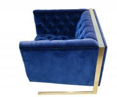Milo Baughman Pair Mid Century Modern Milo Baughman Style Brass Cantilever Lounge Club Chairs - 1815972