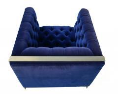 Milo Baughman Pair Mid Century Modern Milo Baughman Style Brass Cantilever Lounge Club Chairs - 1815977