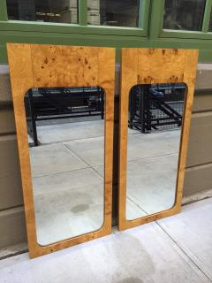 Milo Baughman Pair Milo Baughman Style Burl Wood Mirrors - 1138758