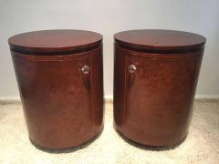 Milo Baughman Pair Nightstand end Tables Book matched olive wood Cabinets - 1823767