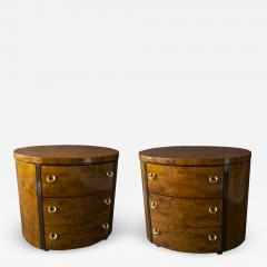 Milo Baughman Pair of American Modern Burled Walnut and Brass Oval Bedside Side Tables - 989564