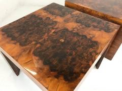 Milo Baughman Pair Of Burl Wood Side Tables In The Style Of Milo