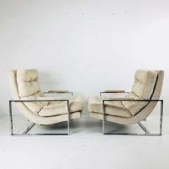 Milo Baughman Pair of Chrome Lounge Chairs in the Style of Milo Baughman - 538102