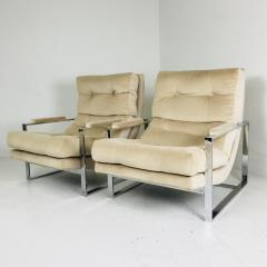 Milo Baughman Pair of Chrome Lounge Chairs in the Style of Milo Baughman - 538103