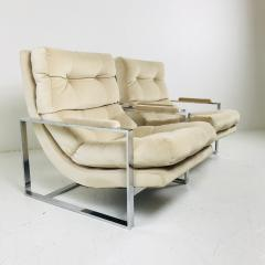 Milo Baughman Pair of Chrome Lounge Chairs in the Style of Milo Baughman - 538104