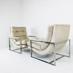 Milo Baughman Pair of Chrome Lounge Chairs in the Style of Milo Baughman - 538105