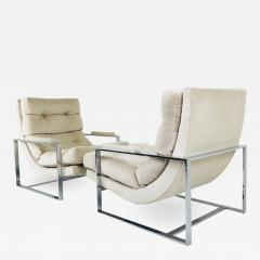 Milo Baughman Pair of Chrome Lounge Chairs in the Style of Milo Baughman - 538559