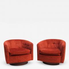 Milo Baughman Pair of Mid Century Modern Tilt Swivel Lounge Chairs Manner of Milo Baughman - 2082420