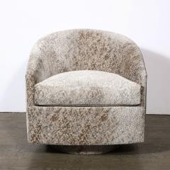 Milo Baughman Pair of Mid Century Swivel Barrel Chairs by Milo Baughman In Holly Hunt Velvet - 2004813