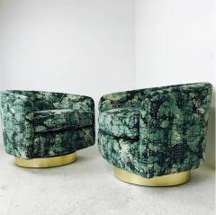 Milo Baughman Pair of Milo Baughman Brass Swivel Lounge Chairs - 562068