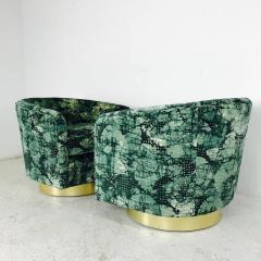 Milo Baughman Pair of Milo Baughman Brass Swivel Lounge Chairs - 562070