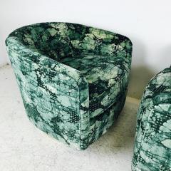 Milo Baughman Pair of Milo Baughman Brass Swivel Lounge Chairs - 562071