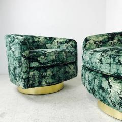 Milo Baughman Pair of Milo Baughman Brass Swivel Lounge Chairs - 562072