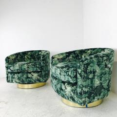 Milo Baughman Pair of Milo Baughman Brass Swivel Lounge Chairs - 562074