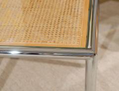 Milo Baughman Pair Of Milo Baughman Cane Chrome End Or Side Tables   95960