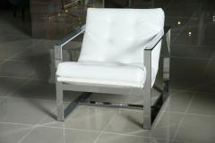 Milo Baughman Pair of Milo Baughman Chrome White Leather Cube Chairs - 83405