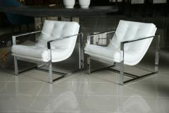 Milo Baughman Pair of Milo Baughman Chrome White Leather Cube Chairs - 83408